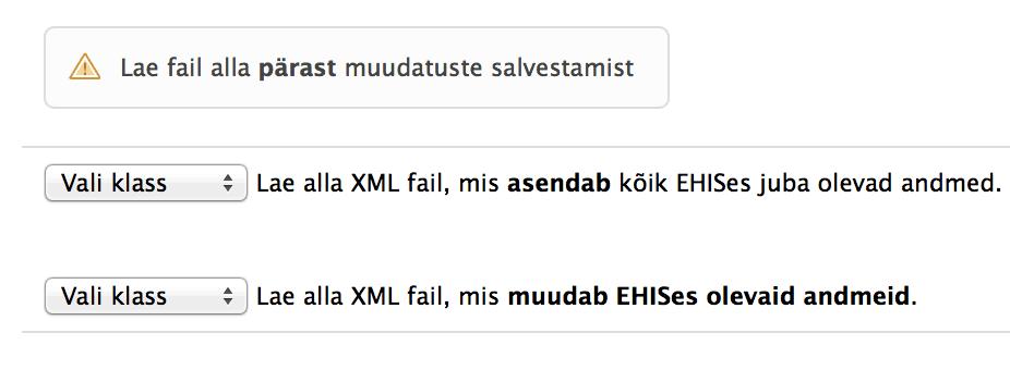 XML failide allalaadimisvalikud